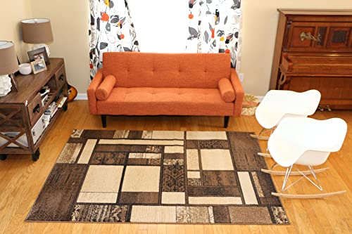 Feraghan New City Brand New Contemporary Modern Square Boxes Area Rug, 8 x 10 , Brown Beige