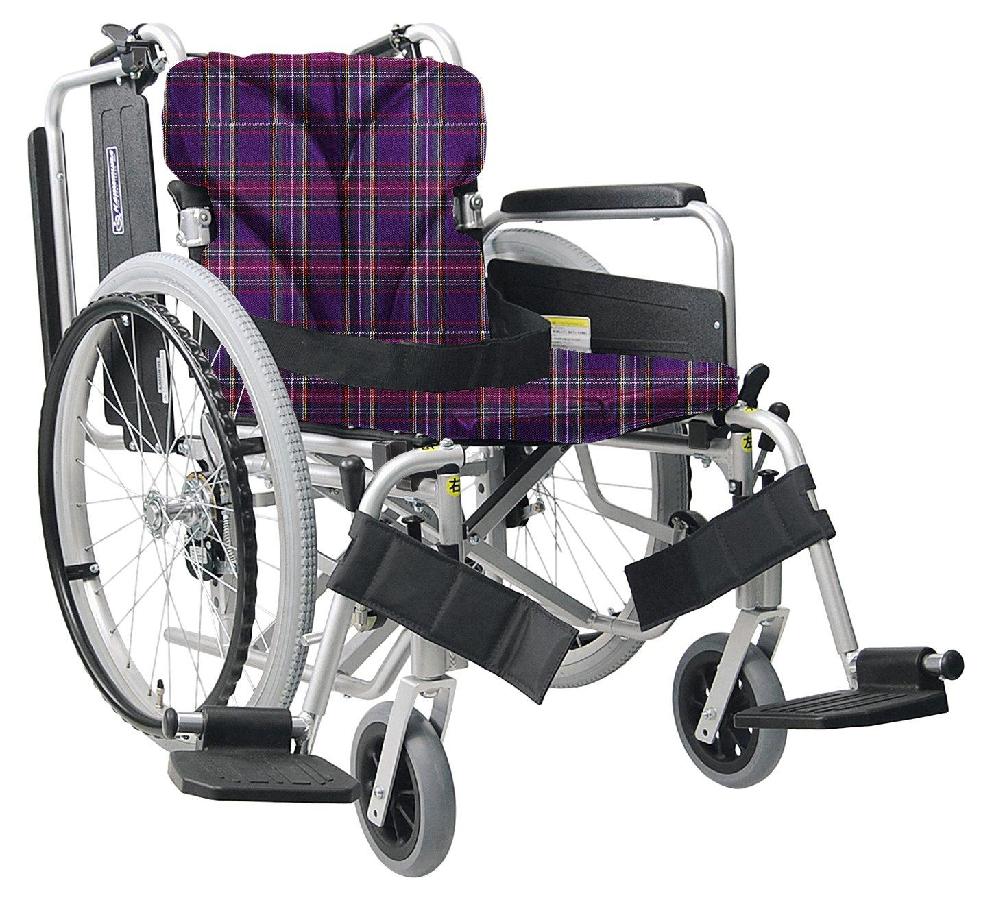 【非課税】カワムラサイクル 簡易モジュール車いす スイングインアウト式シート幅40cm 中床22インチ シルバー×紫チェック (KA822-40B-Mシルバー×A11) [自走介助兼用] B001GZF0EY