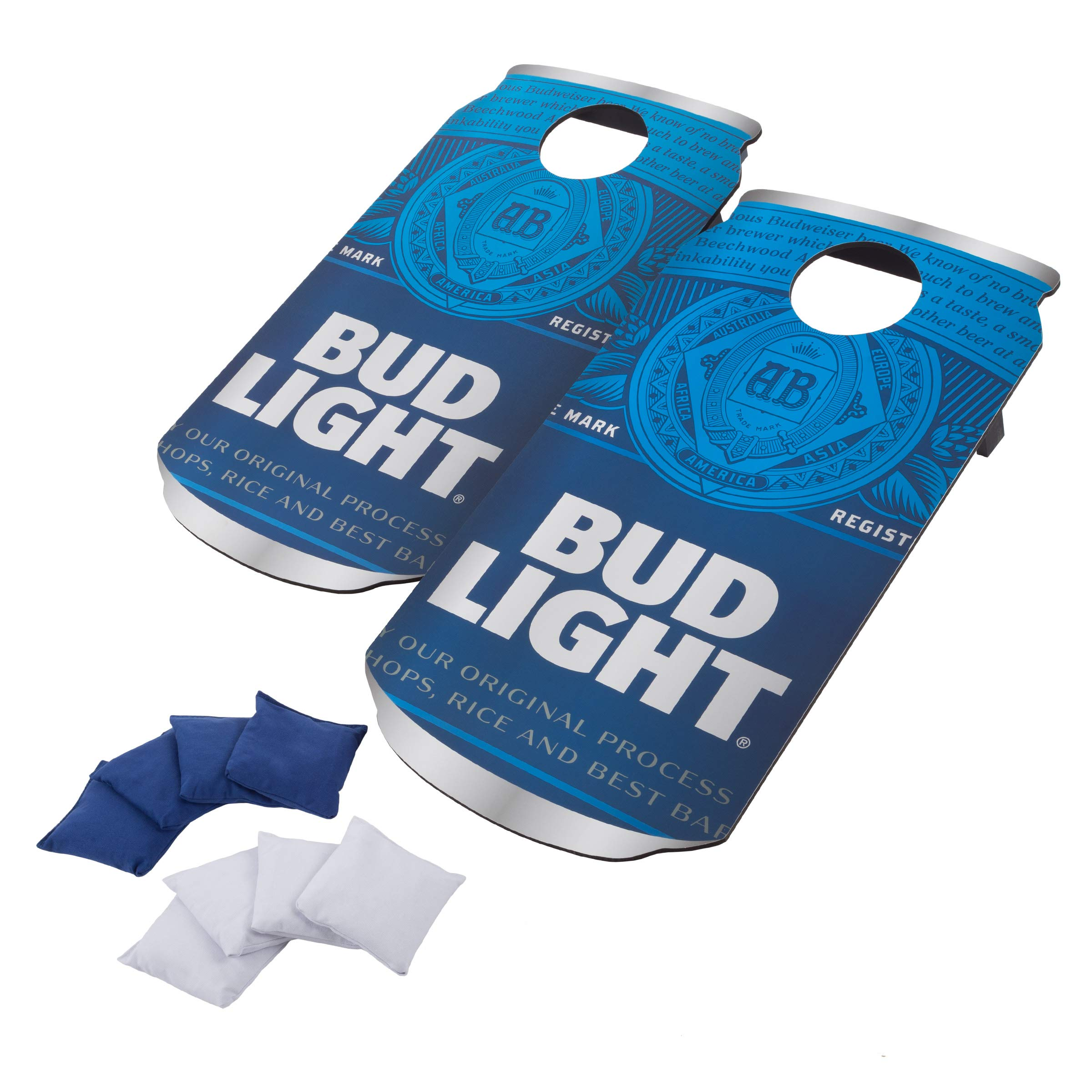 Bud Light Cornhole Outdoor Game Set, 2 Wooden Anheuser-Busch Can-Shaped Corn Hole Toss Boards with 8 Bean Bags by Bud Light