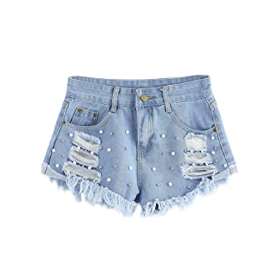 Pandapang Girl Washed Faded Classic Fit Pull-On Distressed Comfortable Jeans Shorts