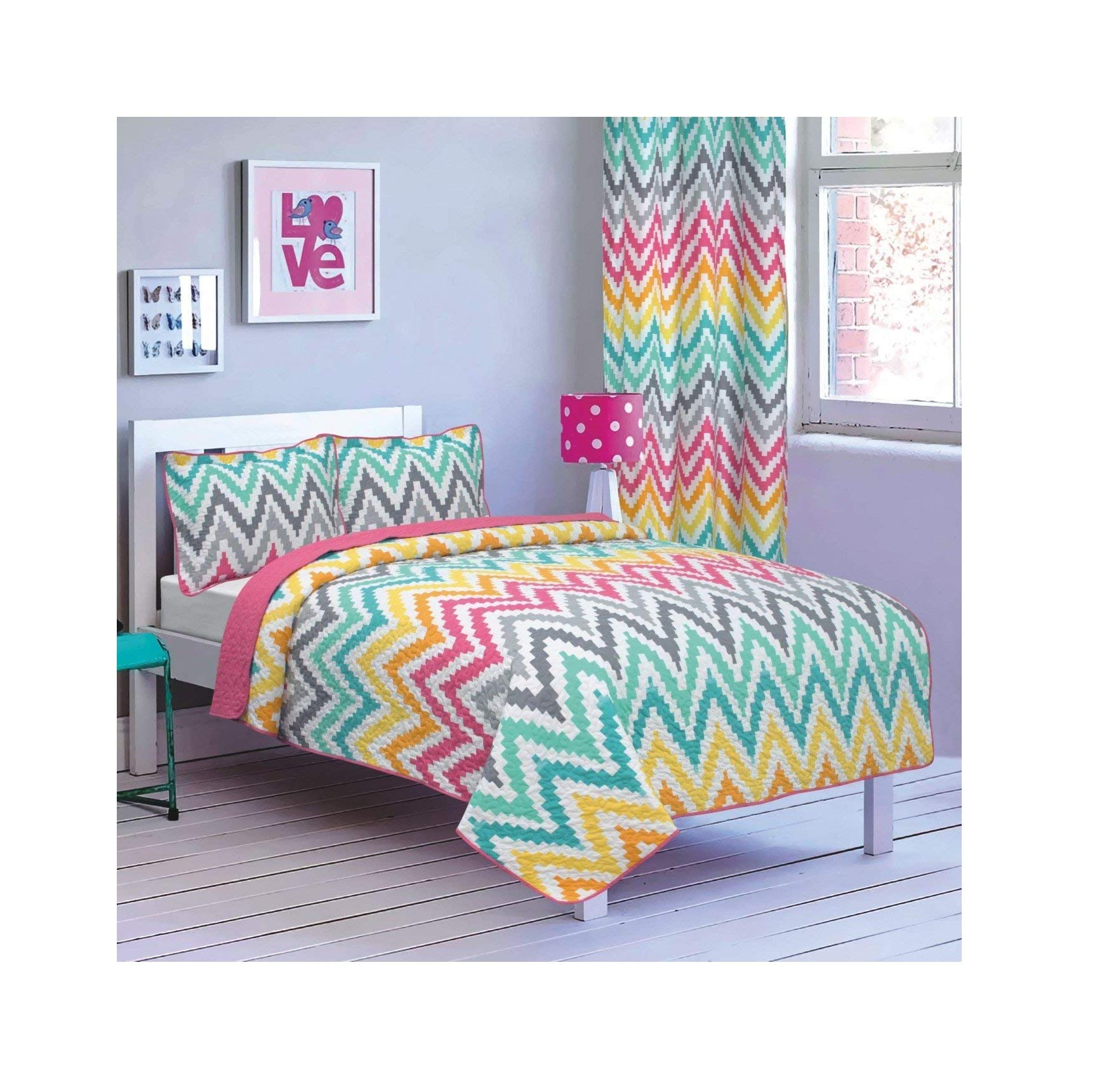 All American Collection New 2pc Printed Modern Bedspread Coverlet Set (Twin Bedspread, Zig-Zag Rainbow)