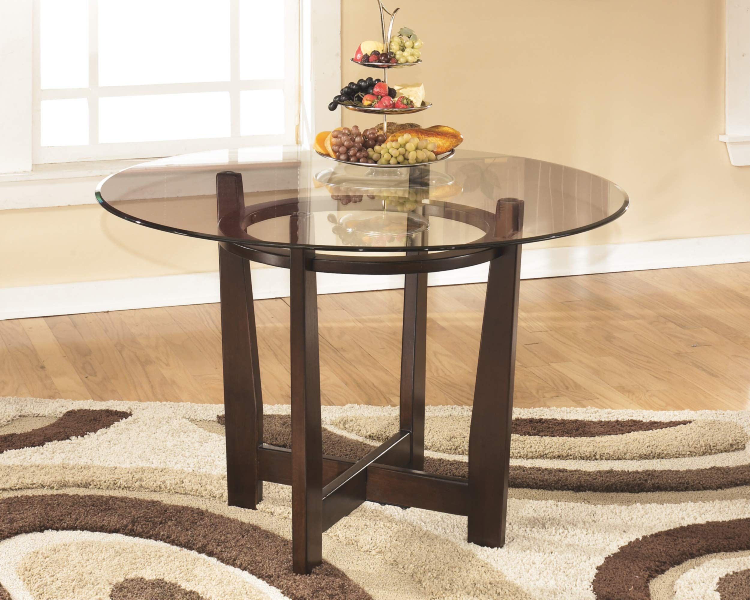 Ashley Furniture Signature Design - Charrell Dining Room Table - Glass Top - Round - Medium Brown by Signature Design by Ashley (Image #2)