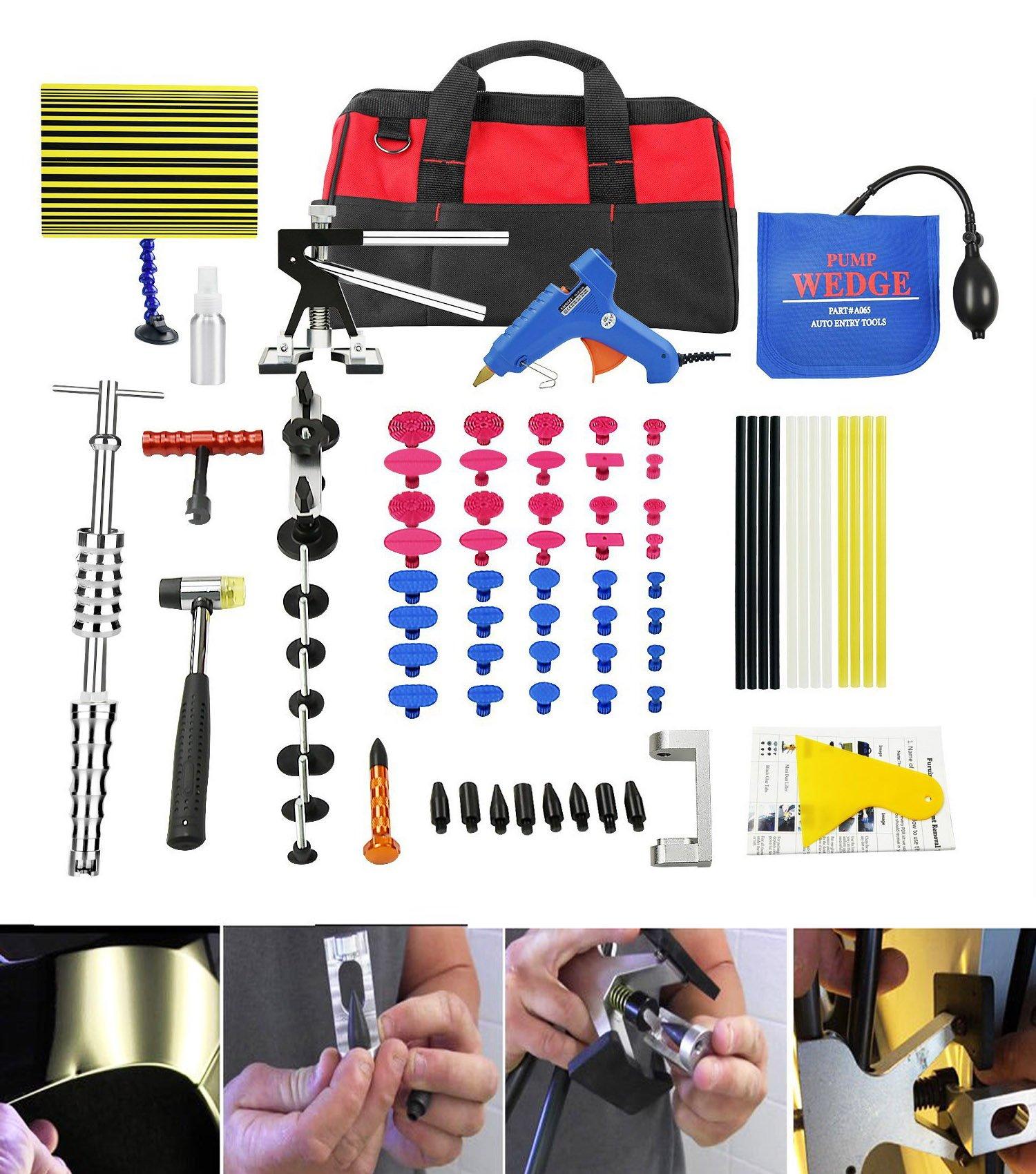 PDR Tools Paintless Dent Repair Tools with Aluminium Edge Jack for Car Dent Repair Door Ding Removal Bridge Dent Puller Dent Removal Kits