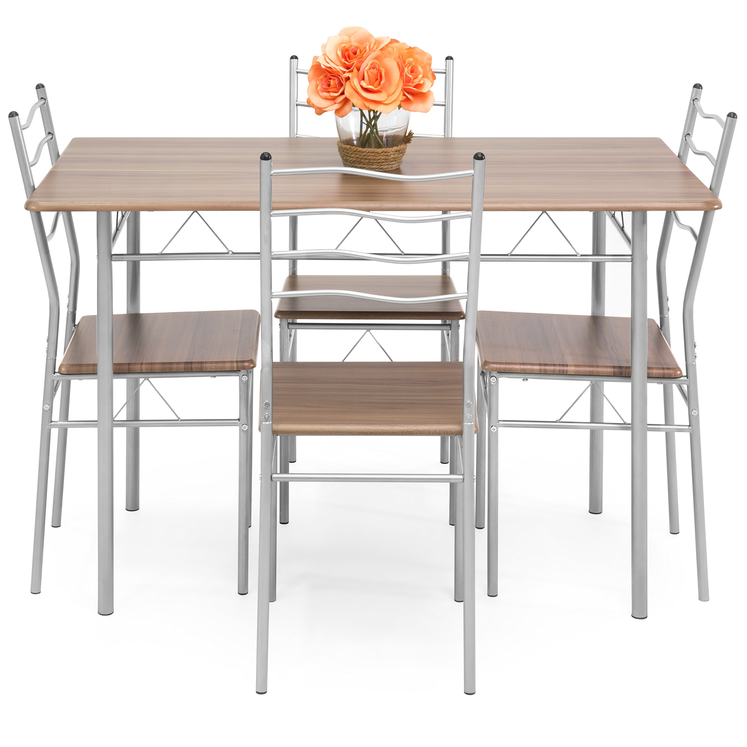 Best Choice Products 5-Piece 4-Foot Modern Wooden Kitchen Table Dining Set w/Metal Legs, 4 Chairs, Brown/Silver by Best Choice Products (Image #2)
