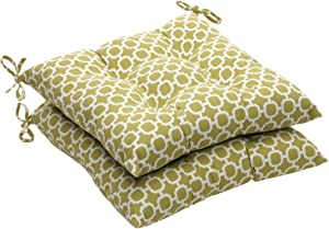 "Pillow Perfect Indoor/Outdoor Geometric Tufted Seat Cushion, 19"" L x 18-1/2""W x 5"" D, Green/White"