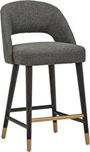 Rivet Whit Contemporary Kitchen Counter Bar Stool, 37 Inch Height, Flannel Grey