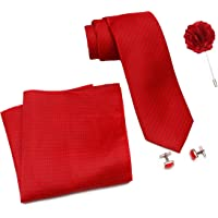 Axlon Men Formal/Casual Weaved Polyester Neck Tie Pocket Square Accessory Gift Set with Cufflinks and Lapel Pin - Red (Free Size, ltr_816)