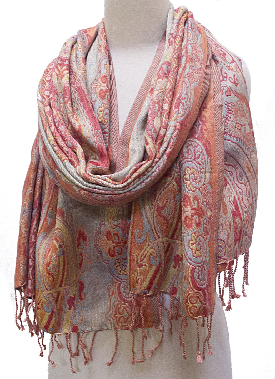 ''Silk Paisley'' Shawl Stole Scarf Wrap Pastel Pink Gold Sky Blue