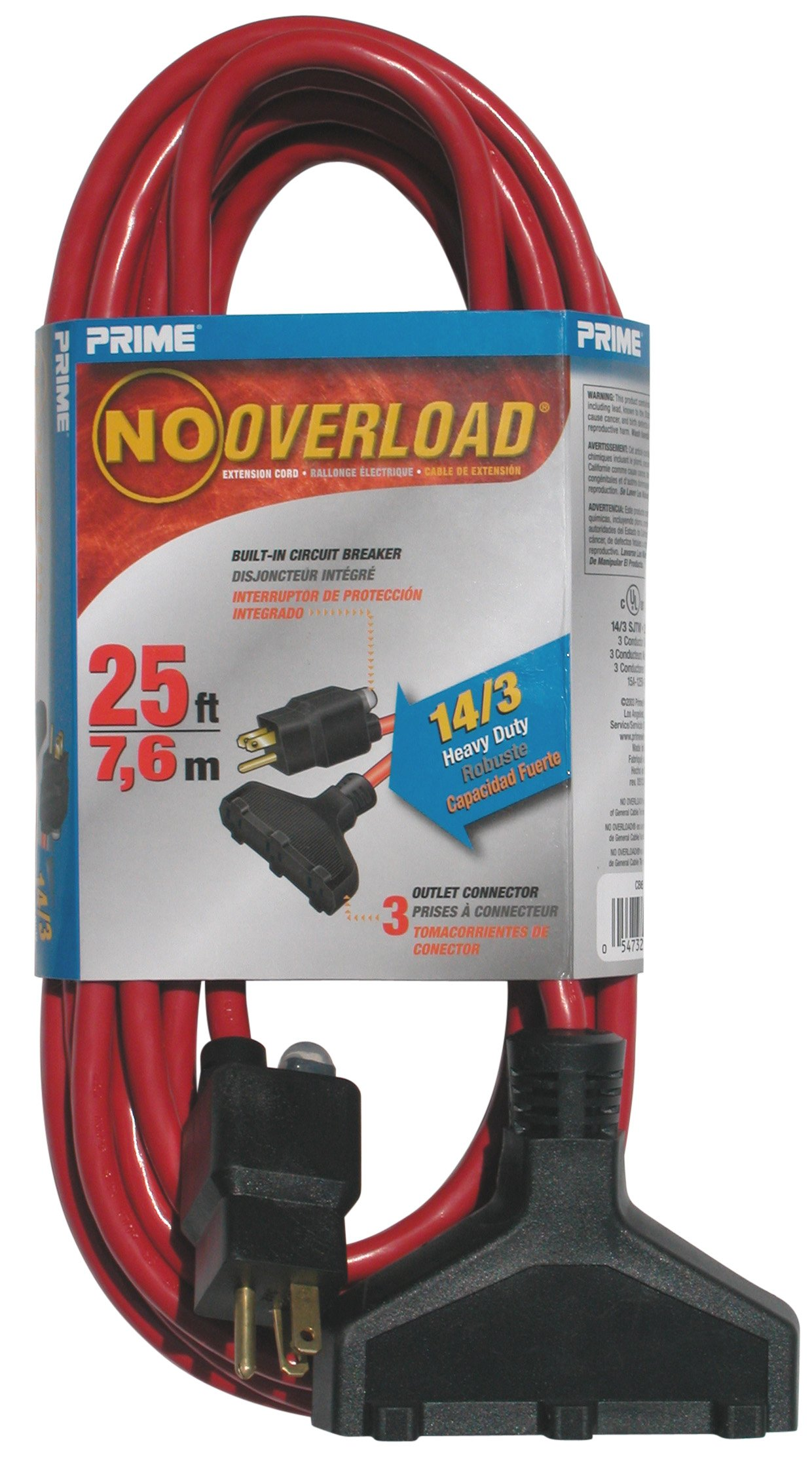 Prime Wire & Cable CB614725 Prime Wire And Cable No Overload Extension Cords, Outdoor, Triple Tap, 25 Ft