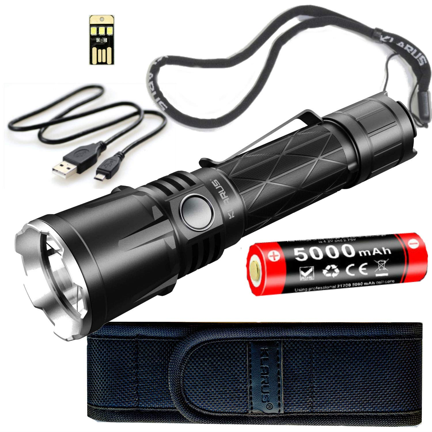 3200 Lumens Klarus XT11X Rechargeable Tactical Flashlight CREE XHP70.2 LED Flashlight Bundled with 1 Lumintrail USB Car Adapter and 1 Lumintrail USB Wall Adapter