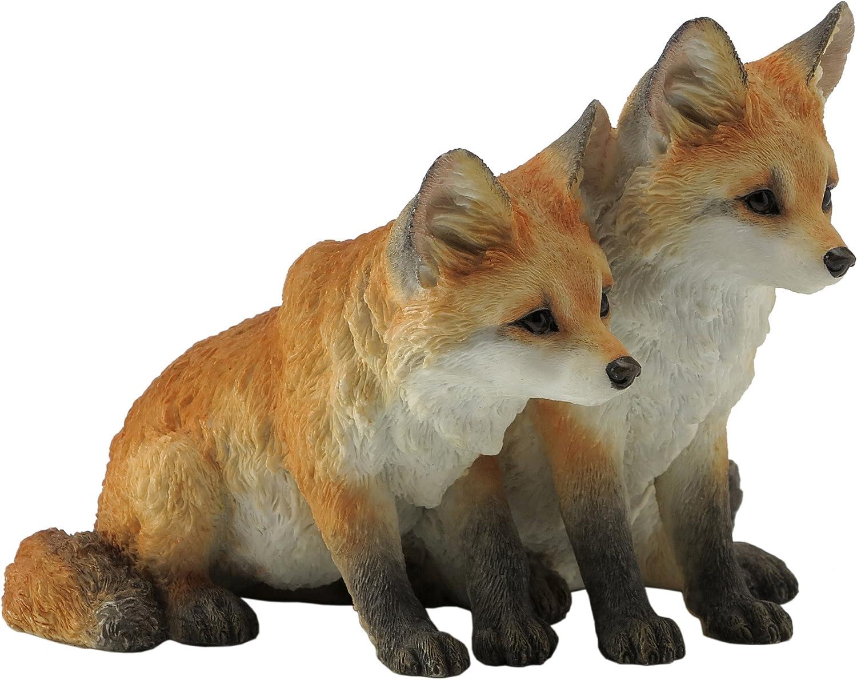 Amazon Com 5 5 Inch Two Fox Pups Decorative Statue Figurine Orange And White Home Kitchen