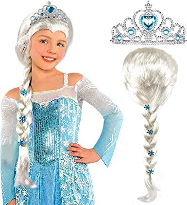 Girls Frozen Princess Anna Elsa Crown Wig Dress up Girls Fancy Dress Accessories