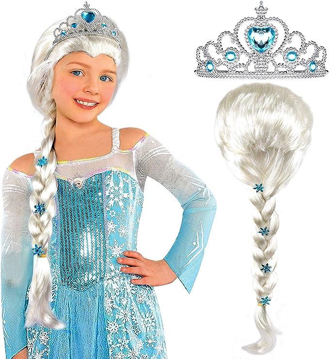 Amazon.com: Tacobear Elsa - Peluca de Elsa Frozen con tiara ...
