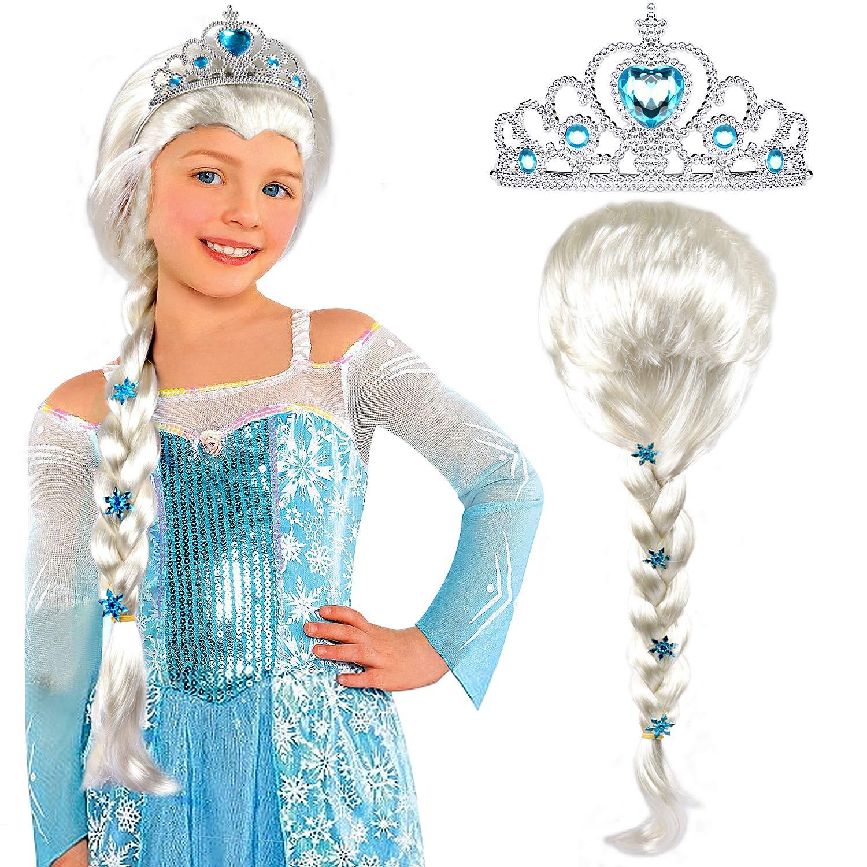 Tacobear Elsa Wig Frozen Elsa Braid with Princess Tiara Princess Elsa Dress Up Costume Accessories for Kids Girls White by Tacobear