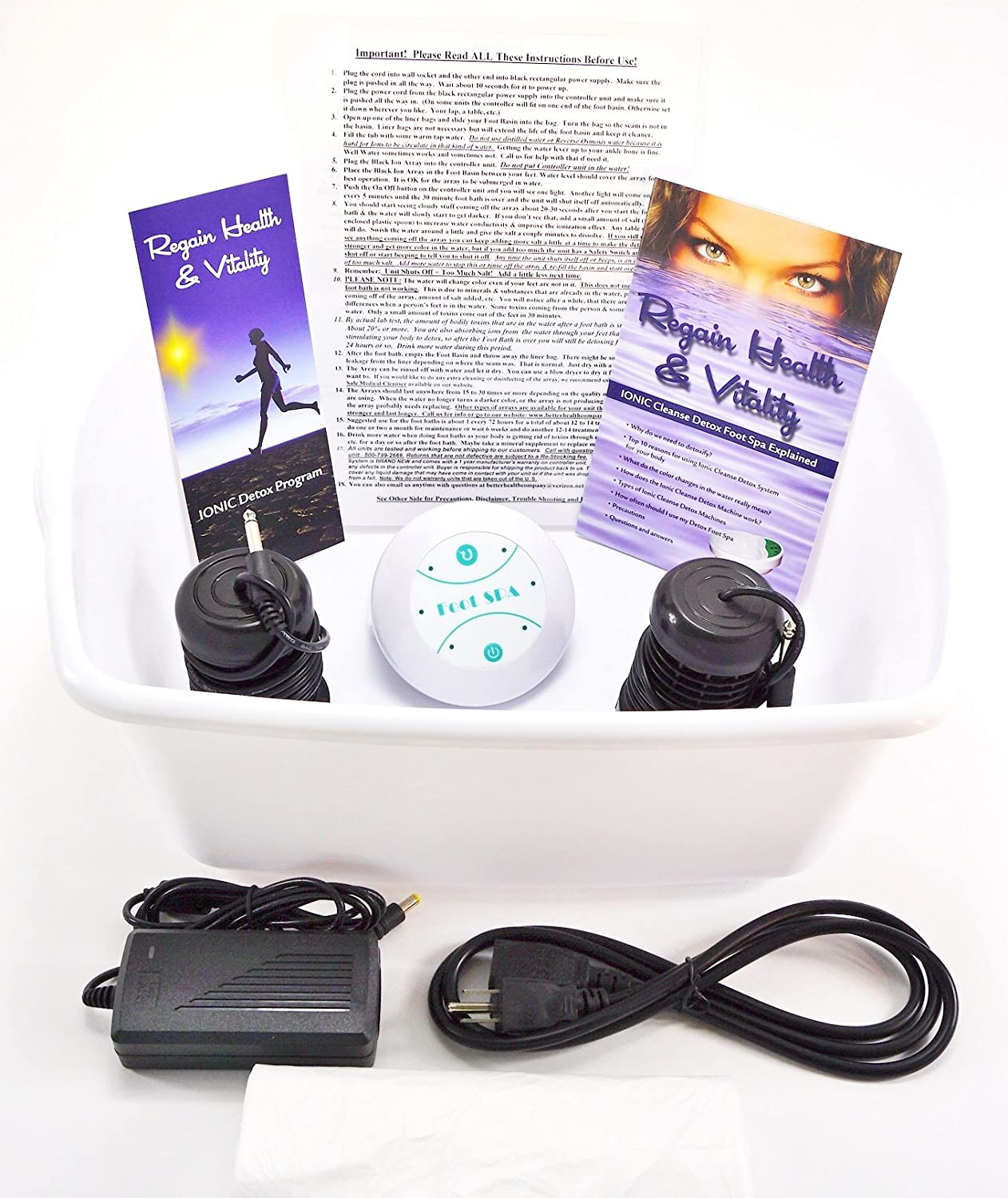 Amazon ionic foot cleanse detox foot bath machine foot spa detox foot bath machine foot spa bath for home use free regain health vitality booklet brochure health personal care nvjuhfo Images