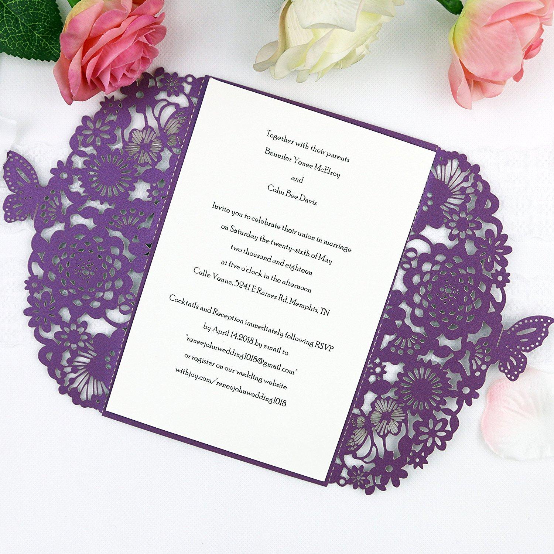 FEIYI 25 pieces Laser Cut Lace Pattern Wedding Invitations Cards For Wedding Baby Shower Rehearsal Dinner Invites Birthday Invitation (Purple)