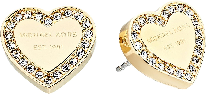 6de5b6502de09 Amazon.com  Michael Kors Women s Crystal Heart Studs Earrings Gold Tone One  Size  Jewelry
