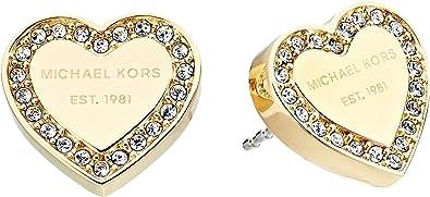 97ac085ee Amazon.com: Michael Kors Women's Crystal Heart Studs Earrings Gold ...