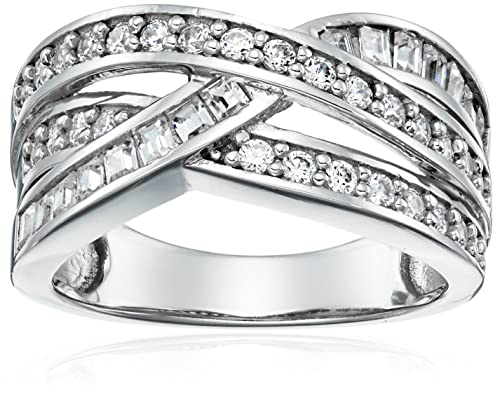 Platinum-Plated Sterling Silver Swarovski Zirconia Interlocking Band Ring, Size 6