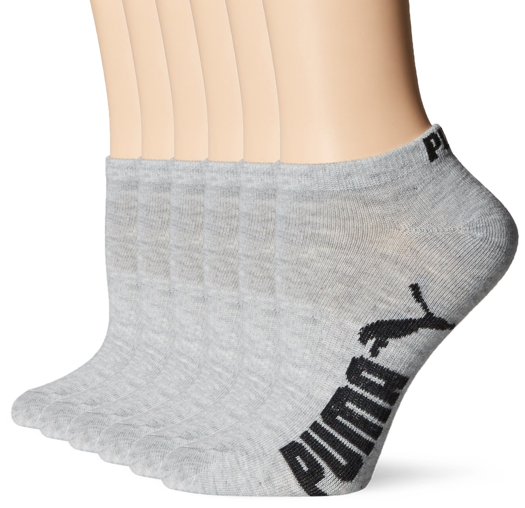 PUMA Women's 6 Pack Runner Socks, Grey, 9-11
