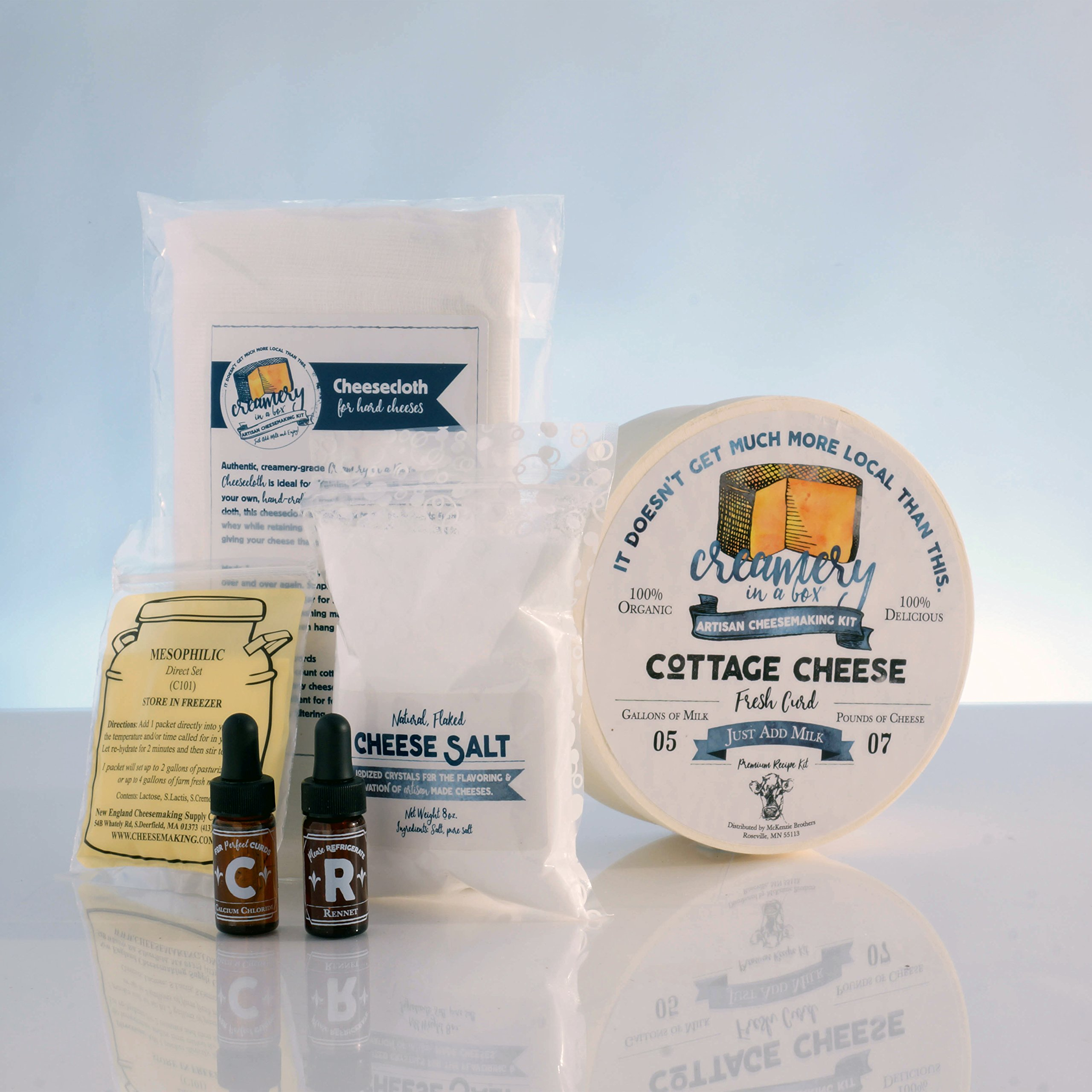 Creamery In A Box Fresh Cottage Cheesemaking Recipe Kit - Ingredients For Making 5 Pounds Of Homemade Cheese