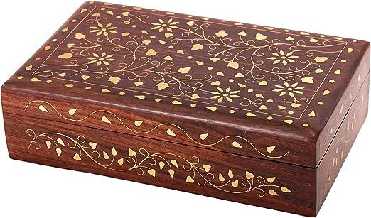 Store Indya Precioso del palo de rosa de la joyeria de almacenamiento caja del recuerdo decorativo floral Organizador laton embutido: Amazon.es: Hogar