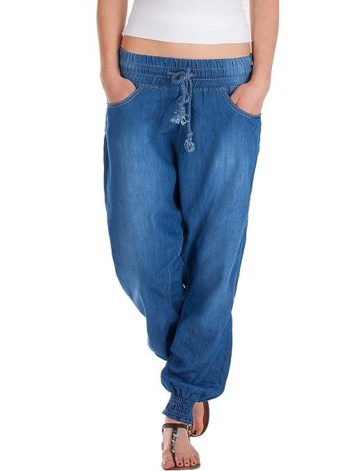 Fraternel Damen Jeans Stoffhose Baggy Pluderhose Haremshose Sarouel