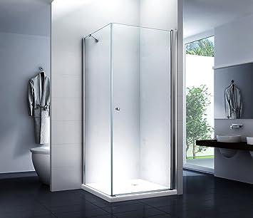 Cabina de ducha lisa 90 x 195 cm/8 mm/sin plato de ducha: Amazon ...