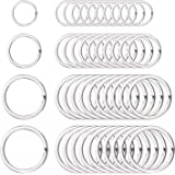 40 Pieces Round Flat Key Chain Rings Metal Split Ring for Home Car Keys Organization, 3/ 4 Inch, 1 Inch, 1.25 Inch and 1.4 Inch, Silver