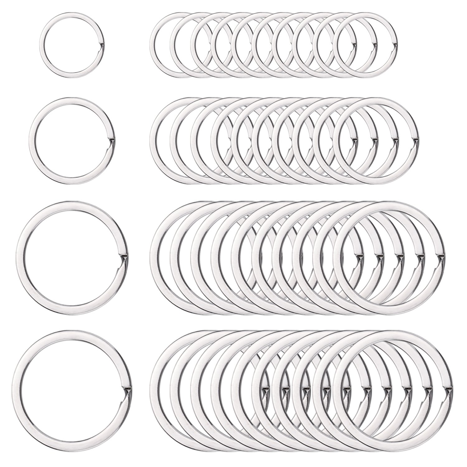 40 Pieces Round Flat Key Chain Rings Metal Split Ring for Home Car Keys Organization, 3/ 4 Inch, 1 Inch, 1.25 Inch and 1.4 Inch, Silver Outus