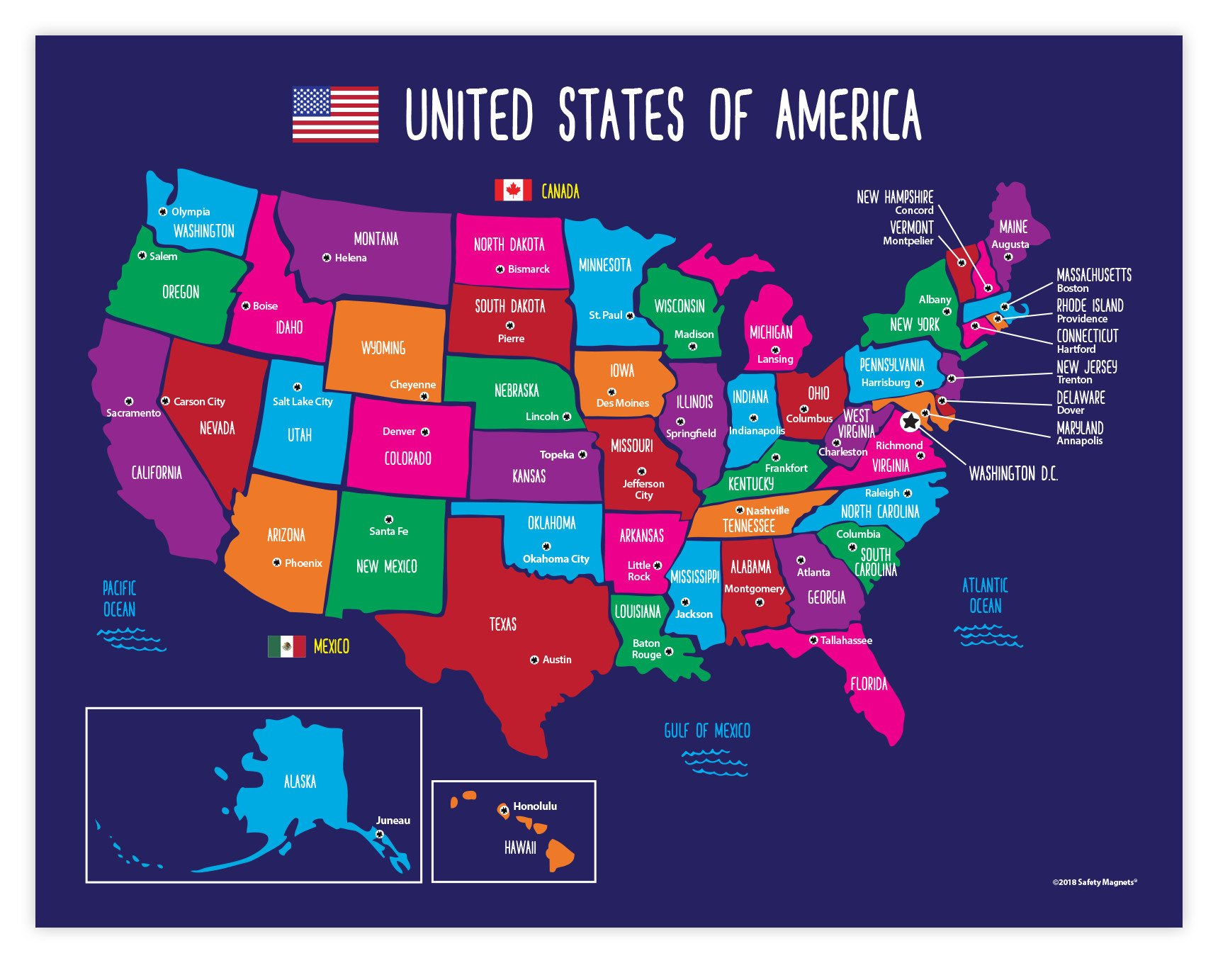 USA Map with State Capitals Educational Classroom Poster - 17 x 22 inches - Laminated