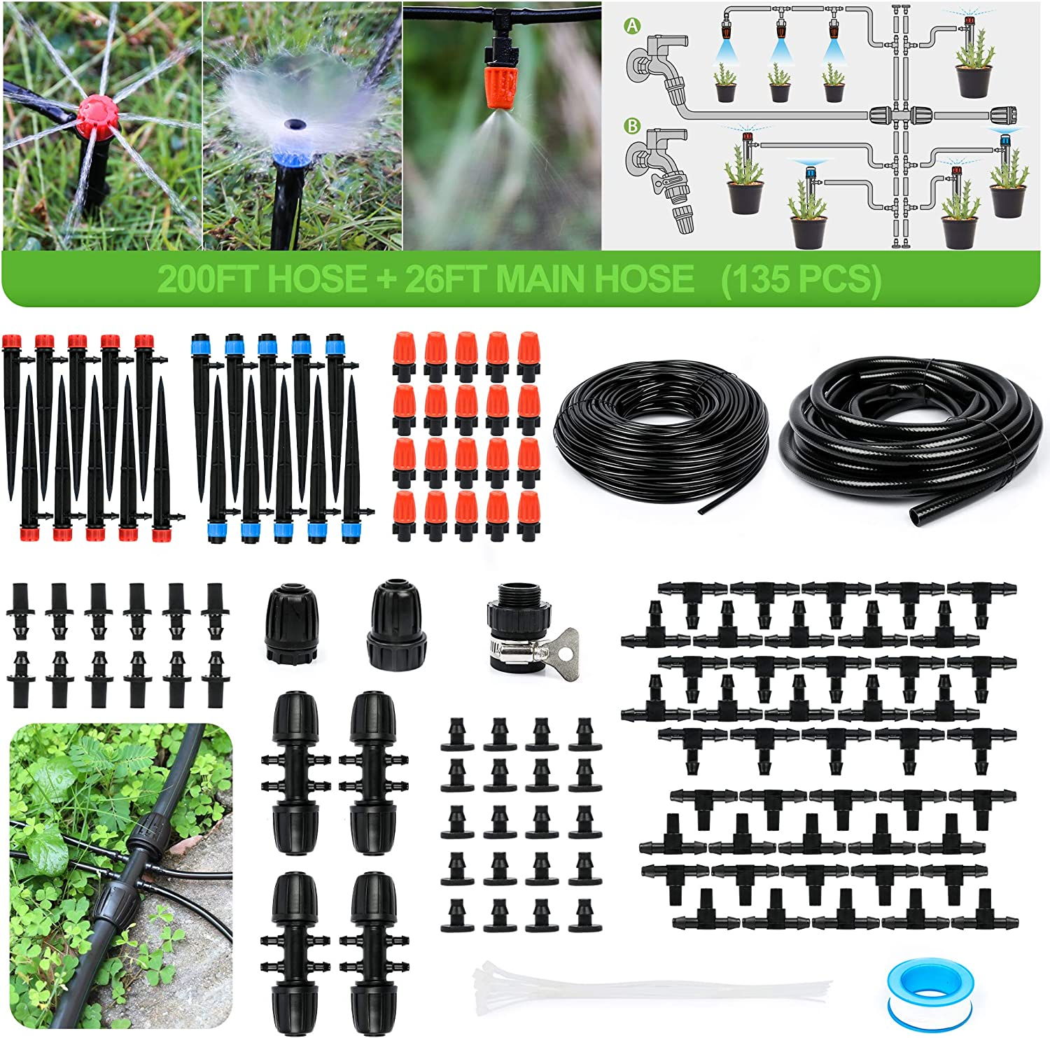 MIXC 226FT Greenhouse Micro Drip Irrigation Kit Automatic Patio Misting Plant Watering System with 1/4 inch 1/2 inch Blank Distribution Tubing Hose Adjustable Nozzle Emitters Sprinkler Barbed Fittings