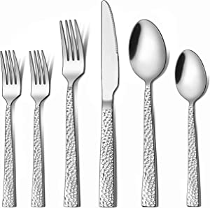 LIANYU 48-Piece Silverware Set with Extra Forks, Stainless Steel Hammered Square Flatware Cutlery Set for 8, Fancy Eating Utensils Tableware, Dishwasher Safe