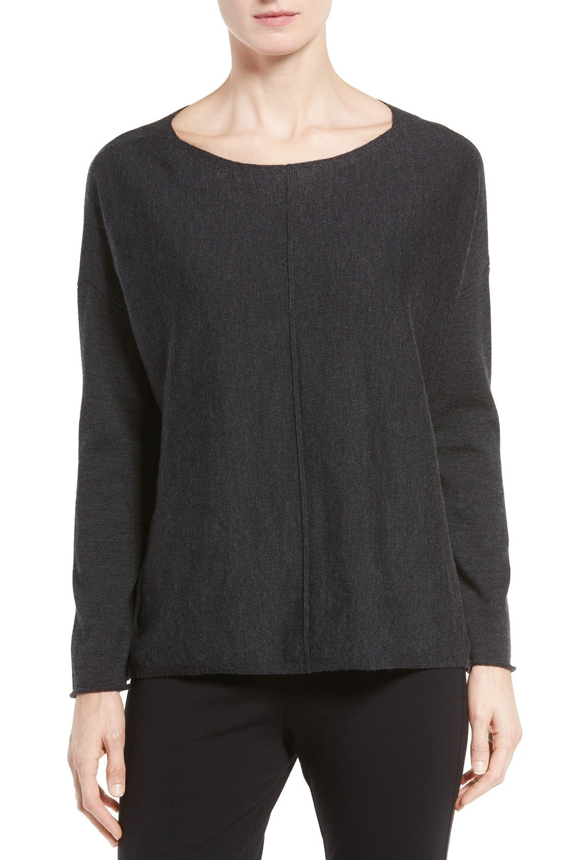 Eileen Fisher Women's Merino Wool Jersey Bateau Neck Boxy Sweater (Medium, Charcoal)