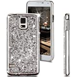 Galaxy S5 Case, ikasus Shiny Sparkle Bling Glitter Handcraft Crystal [Rhinestone Diamond] Hard Plastic Plated Slim Case Cover Full Cover Protective Case for Samsung Galaxy S5 / Galaxy SV i9600 (Sliver)