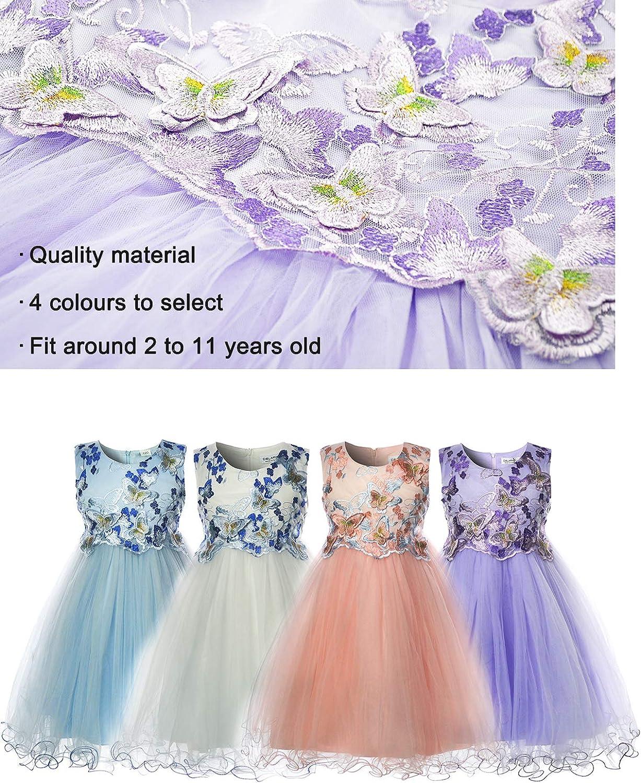CIELARKO Vestito Ragazze Bambina Farfalla Cerimonia Elegante Smanicato Principessa Abiti
