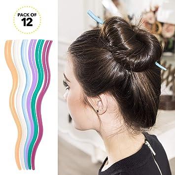 Rc Roche Ornament 12 Pcs Womens Hair Curved Spiral Chignon Bun Maker Updo Decor Beauty Fashion Accessories Hairpin Shawl Pin Pick Fork Chopstick