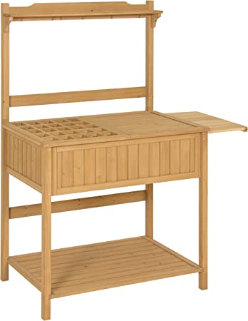 Best Choice Products Outdoor Garden Wooden Recessed Storage Potting Bench  Work Station with Removable Lattice Top, 5 Tool Hooks, Tabletop Extension,  ...