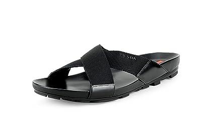 d617777619344 Amazon.com | Prada Men's Spazzolato Ribbon Nylon Sandals, Black ...