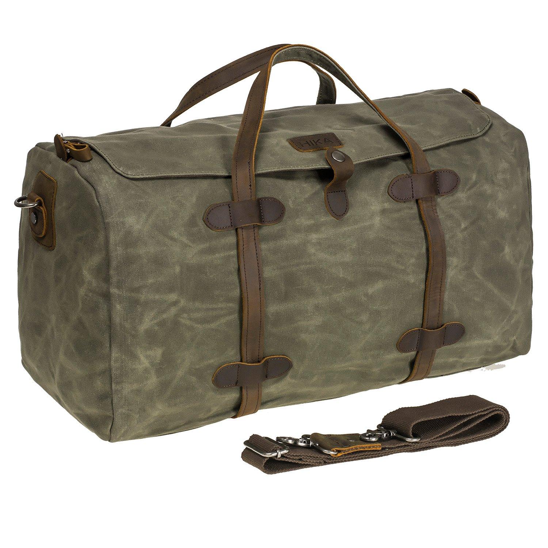 0ad68eaf68f0 HIKA Waxed Canvas Leather Trim Weekend Bag Men Women Gym Duffel bag ...