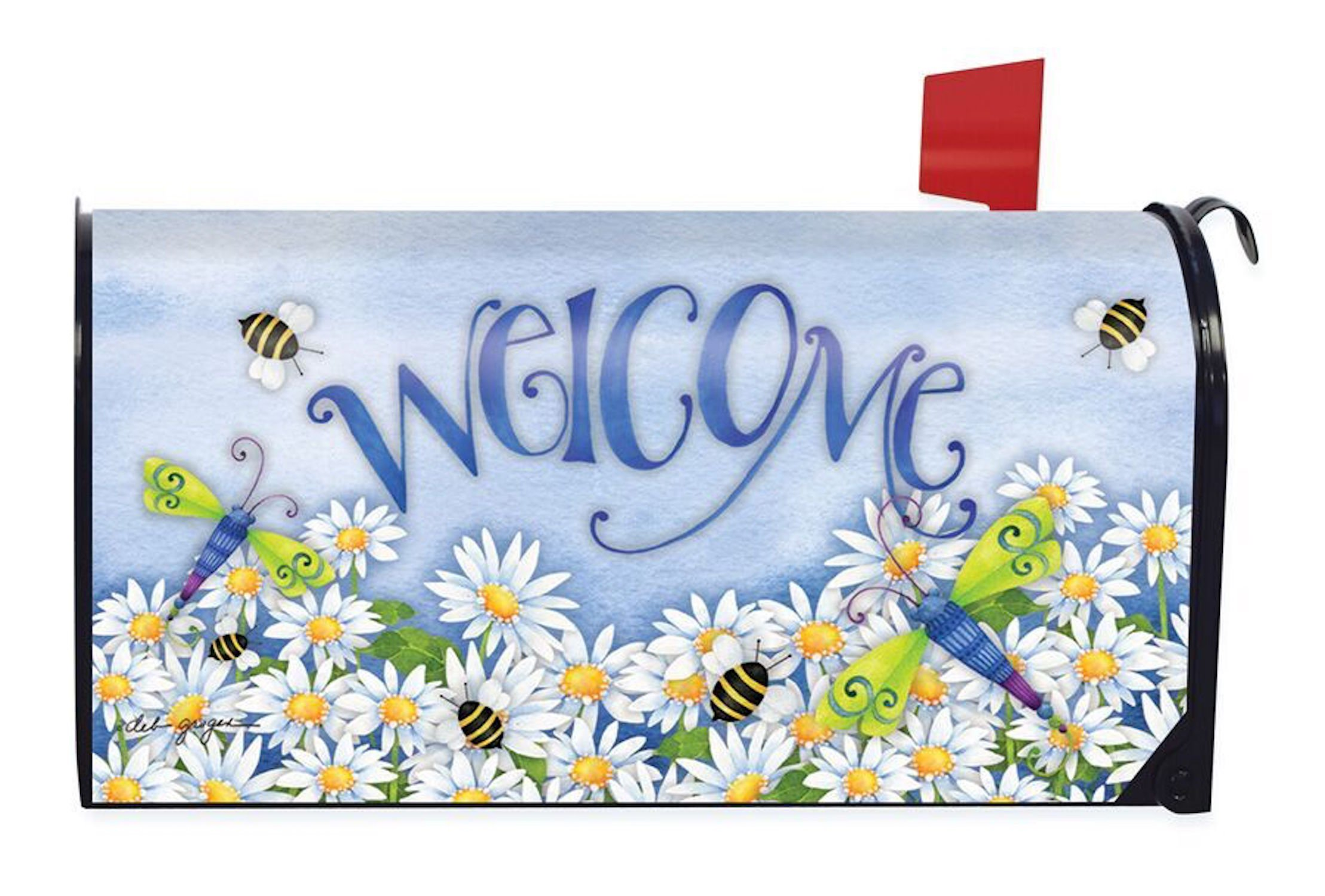 Briarwood Lane Dragonfly Welcome Summer Magnetic Mailbox Cover Daisies Dragonflies