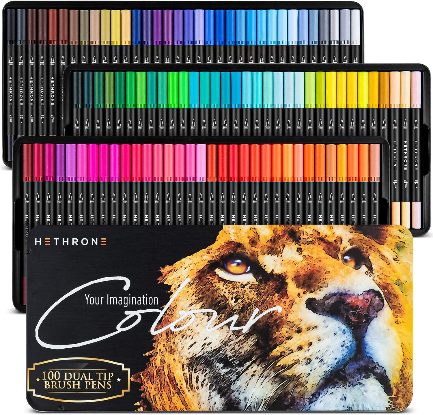 Hethrone 100 Colors Dual Brush Pens Colored Markers with 0.4mm Fine-Liner Tip and Highlighter Brush, Kid Adult Coloring Markers for Painting Lettering