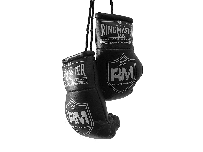RingMasterUK Mini Boxing Gloves Car Hanger Van Rear Mirror Gift Flags Gold