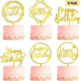 6-Pack Gold Birthday Cake Topper Set, Double-Sided Glitter, Acrylic Happy Birthday Cake Toppers/Cupcake Toppers…