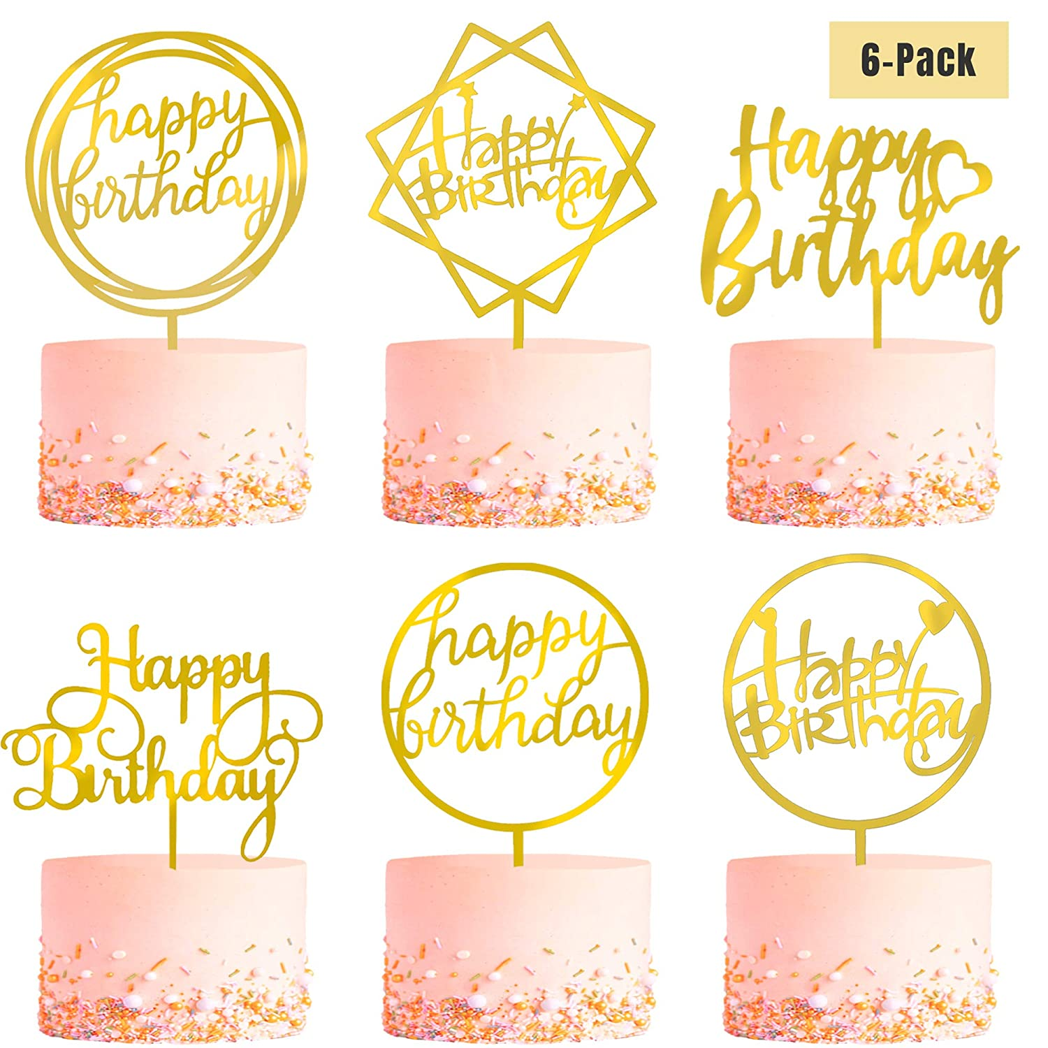 Stupendous 6 Pack Gold Birthday Cake Topper Set Double Sided Glitter Personalised Birthday Cards Paralily Jamesorg