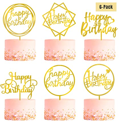 Magnificent 6 Pack Gold Birthday Cake Topper Set Double Sided Glitter Funny Birthday Cards Online Elaedamsfinfo