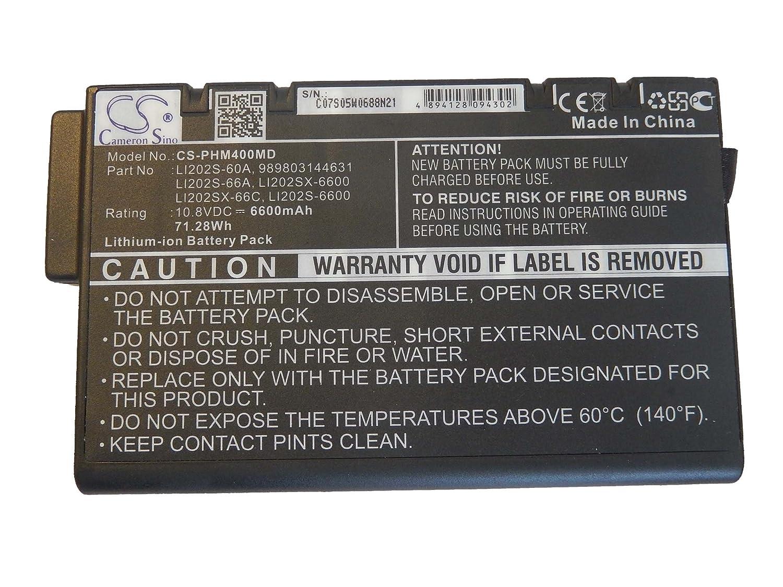 etc. para Philips Suresign VM3 10.8V VM6 VS2 Li202SX-66C VM4 VS3 por Li202S-60A vhbw Li-Ion bater/ía 6600mAh VM8