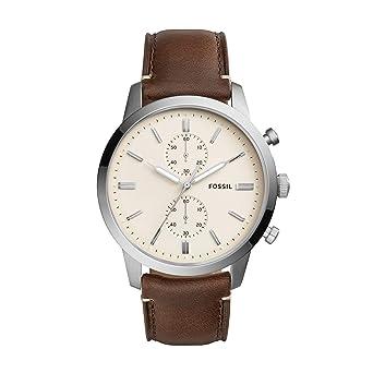 7249fd436 Fossil Men's 44mm Townsman Stainless Steel Quartz Watch with Leather  Calfskin Strap, Brown, 22