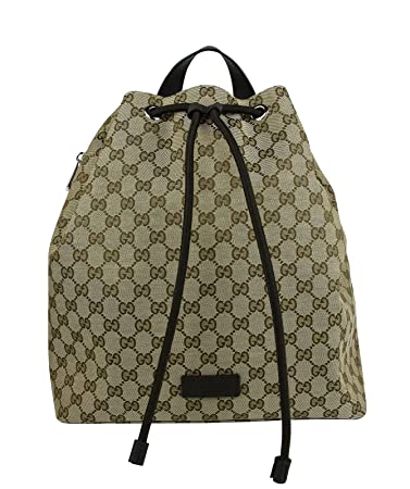 6abed48ea246 Amazon.com  Gucci Draw String Beige Brown GG Canvas Pull String Back Pack  449175 9790  LUX LAIR