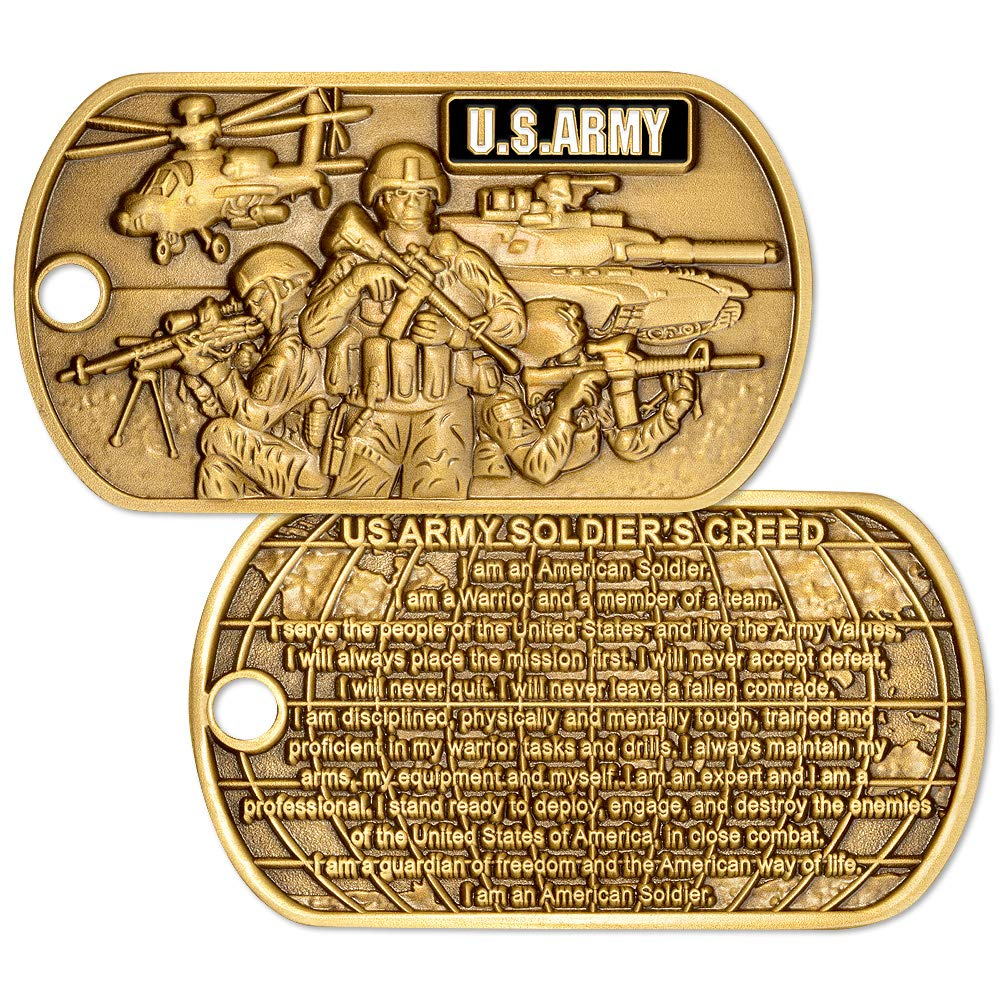 U.S. Army Soldiers Creed Dog Tag with Chain by Armed Forces Depot